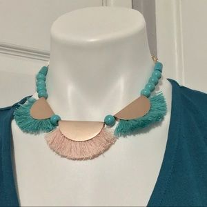 🌴Parfois Real Stone Teal and Blush Necklace